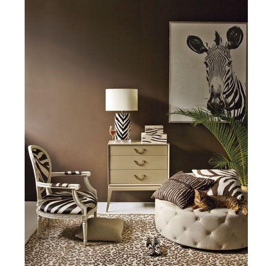 Zebra and cheetah printed room home and garden design for Zebra living room ideas