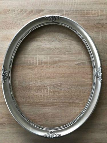 Antik-Stil-Holz-Bilderrahmen-Oval-57-x-47-cm-Ornamentiert-Gemaelderahmen-Silber