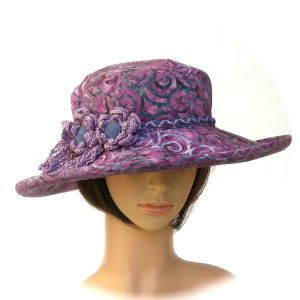 BEACH HAT - cotton batik print with crochet flowers - Rosehip Hat Studio