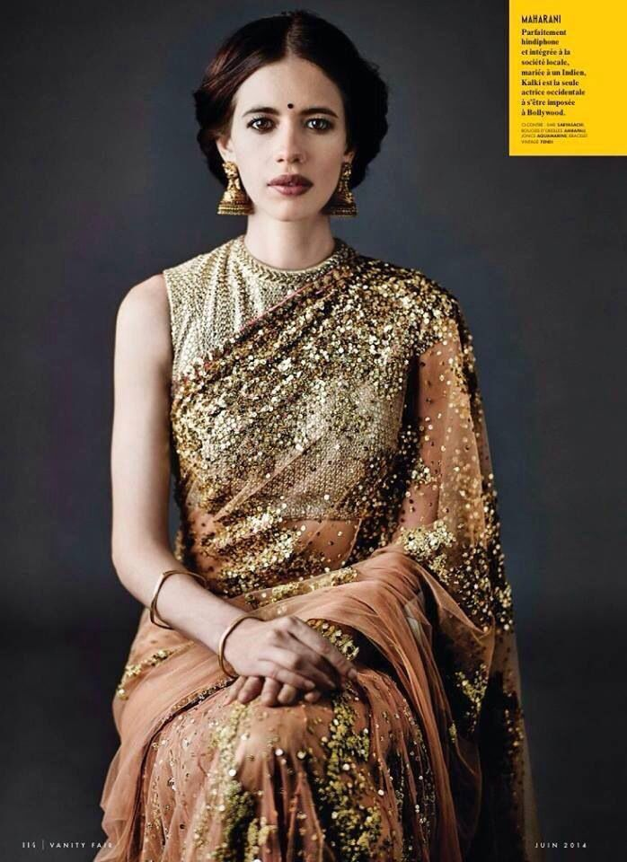 Kalki Koechlin in Sabyasachi. Old world charm with a modern twist! For the June 2014 issue of the French Vanity Fair. Love at first sight <3