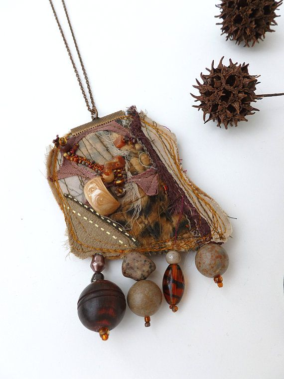 Fragments in brown VI fiber art necklace van Cesart64 op Etsy, $29.00