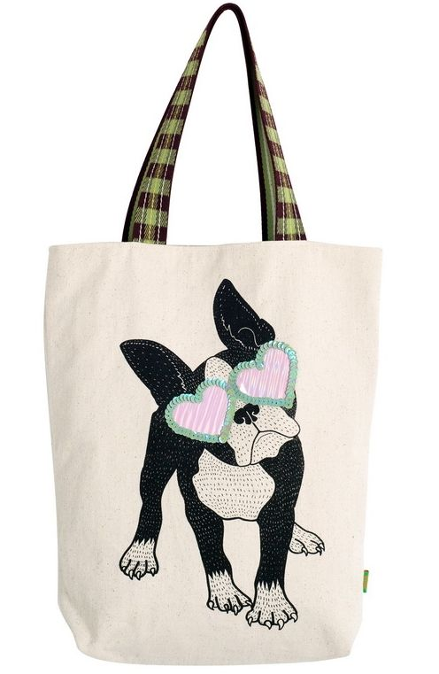 Bag - canvas with hand-screen print and embellishment