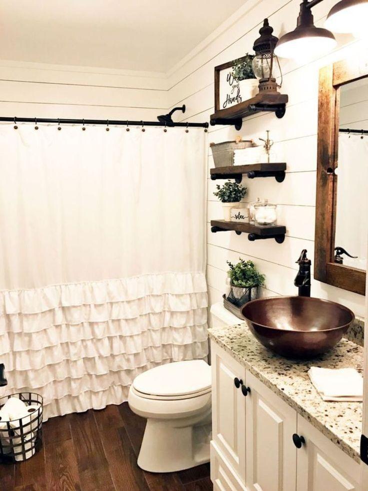 Fresh Modern Farmhouse Bathroom with Shower Curtain