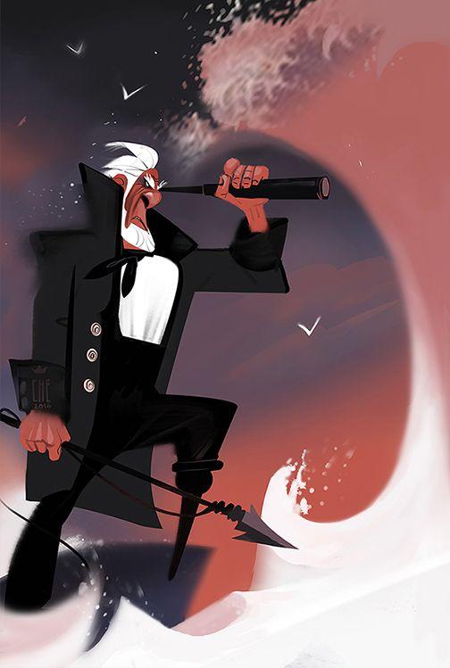 Mobi Dick Captain Ahab https://www.behance.net/gallery/38296621/Character-design-and-illustration-2016