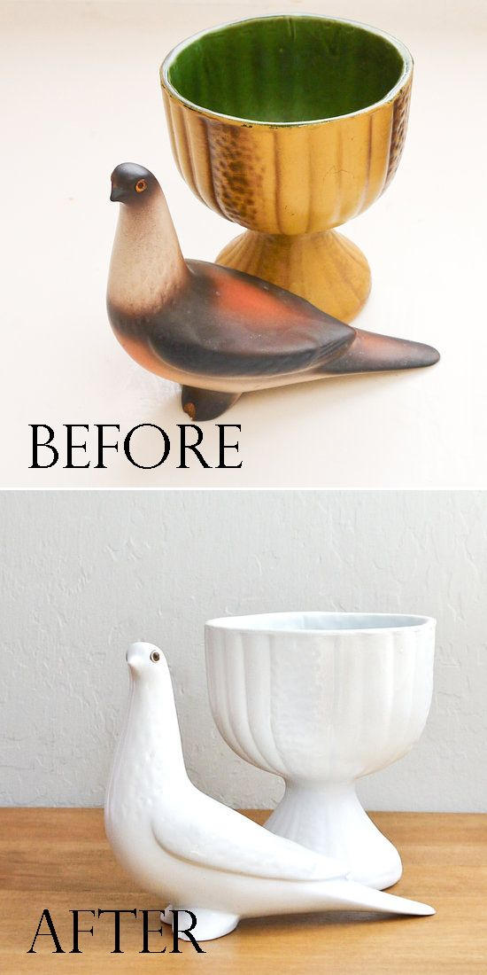 Spray paint flea market finds to turn them into Anthropologie-inspired figurines!