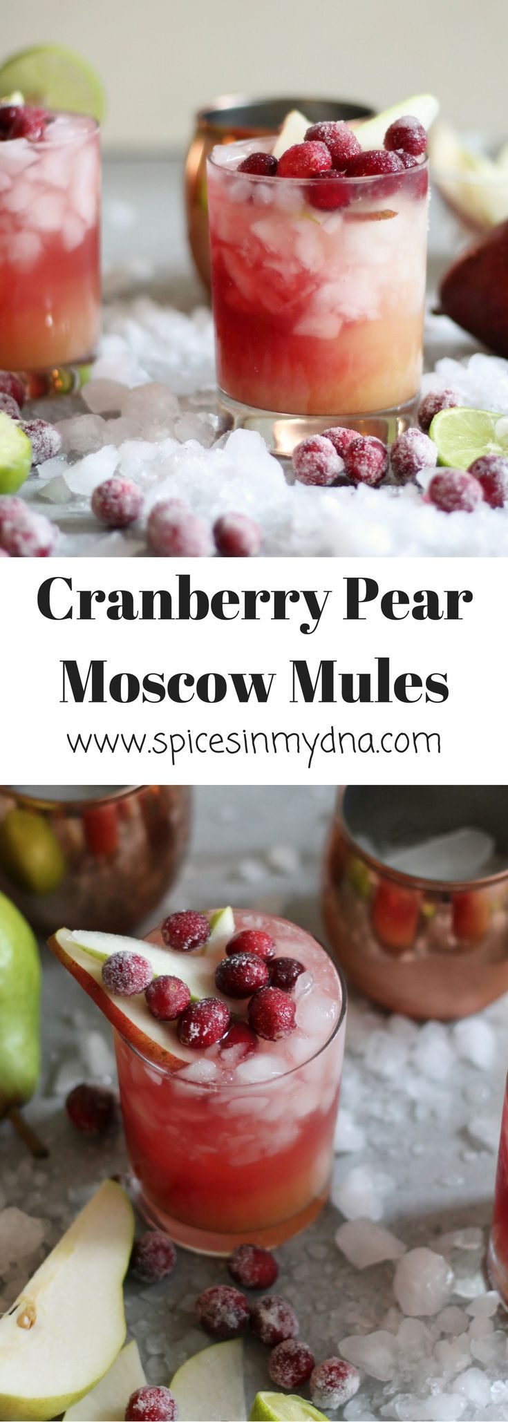 Cranberry Pear Moscow Mules