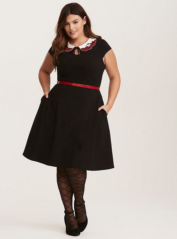 afe964194 Plus Size Hello Kitty Black Embroidered Peter Pan Collar Swing Dress, DEEP  BLACK