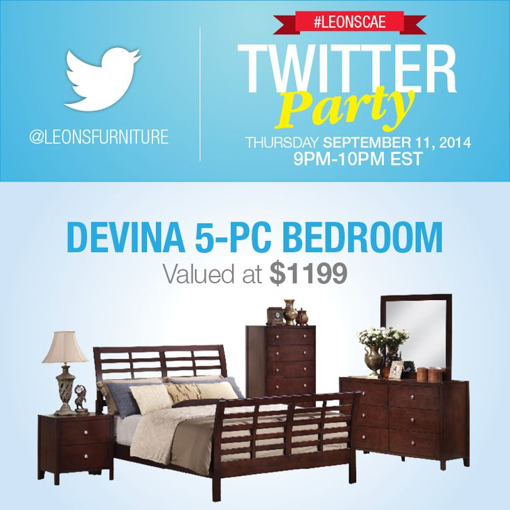 Twitter Party Over $3000 in prizing (Devina 5PC Bedroom)
