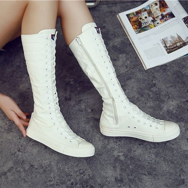 New Womens Girl Lace up Casual Canvas Knee High Boots Shoes Sneakers Side Zipper