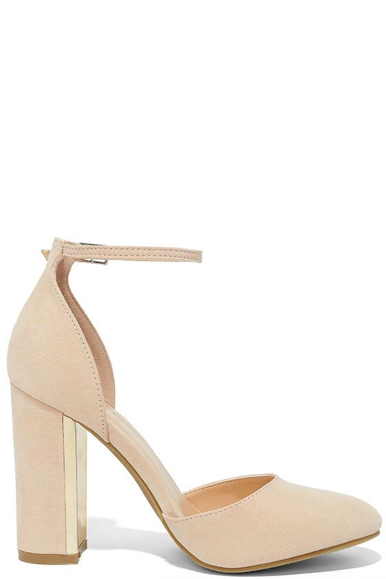 Everyone loves the Laura Nude Suede Ankle Strap Heels with their trendy vegan suede design, almond toe upper, and adjustable ankle strap with gold buckle! Block heel is trimmed in shiny gold.