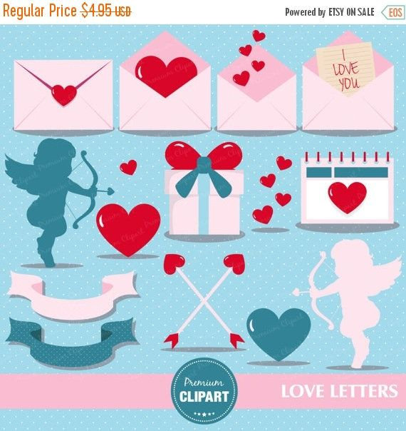 80% OFF SALE Love letter clipart, Valentine cupid, Valentine clipart, Valentines day, Valentine gift, Valentine graphics - CA366 by PremiumClipart on Etsy