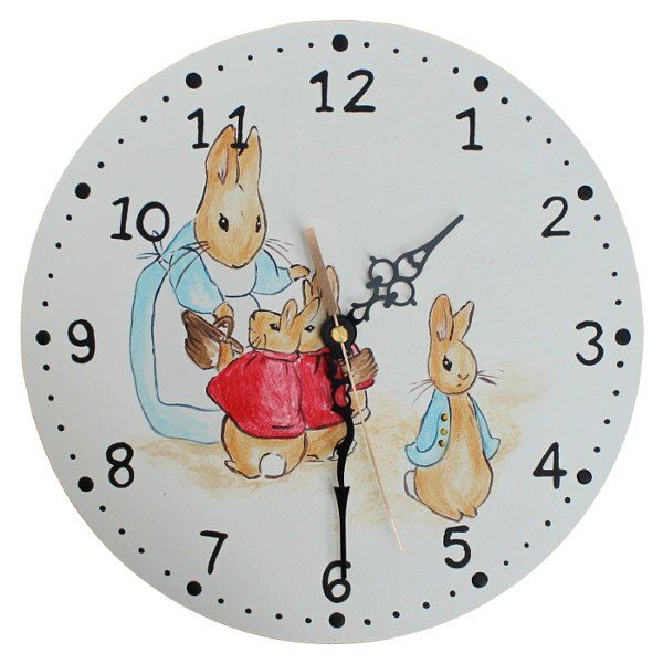 Beatrix Potter Clock - Wooden Peter Rabbit Nursery Clock by DominiquesOnline on Etsy https://www.etsy.com/listing/207888919/beatrix-potter-clock-wooden-peter-rabbit