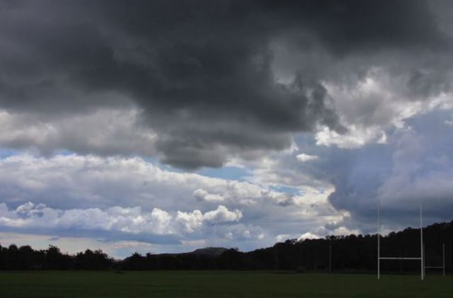Storm clouds over the rugby club at Glynn