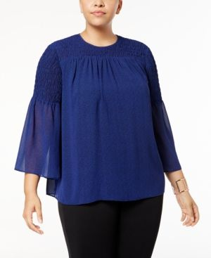 Michael Michael Kors Plus Size Smocked Top - Blue 0X
