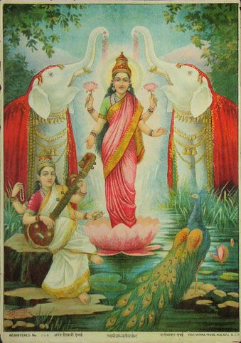 Lakshmi is the Hindu Goddess of wealth, prosperity (both material and spiritual), fortune, and the embodiment of beauty. She is the consort of the God Vishnu. Also called Mahalakshmi, she is said to bring good luck and is believed to protect her devotees from all kinds of misery and money-related sorrows. Saraswati is the Hindu goddess of knowledge, music, arts and science. She is the companion of Brahma, also revered as his Shakti. It was with her knowledge that Brahma created the universe.