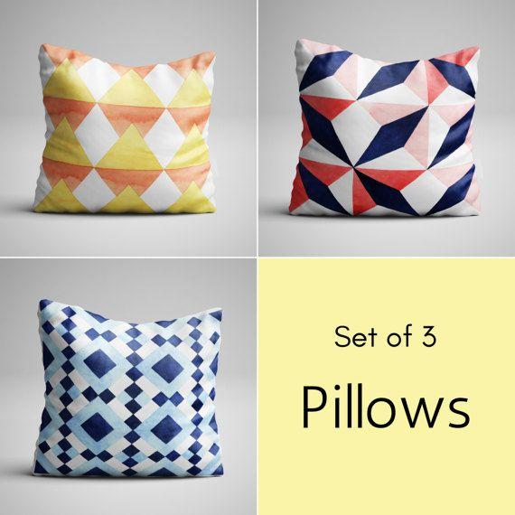 Mid Century Modern Throw Pillow Set (3) - Geometric Design - Modern Chic Decorative Pillows