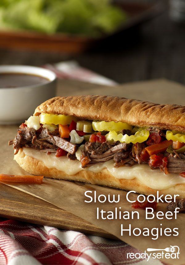 Slow Cooker Italian Beef Hoagies | Recipe | Vegetables, Cheese and ...