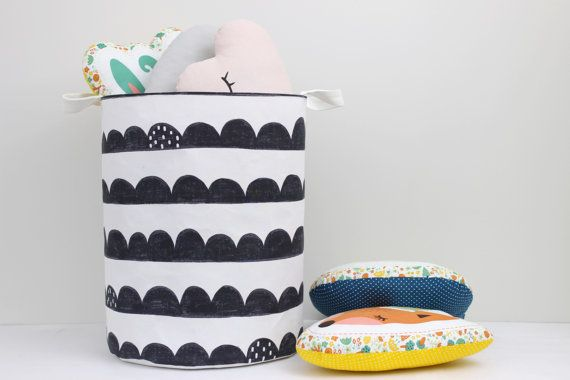 A large cotton basket can be used as a toy storage, nursery or as a laundry hamper. Monochrome scallops pattern will look very stylish in the kids room. Made with 100% cotton outside and cotton canvas fabric inside. Non-woven fusion fabric between 2 cotton layers and a heavy