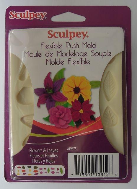 DECODANCE - Sculpey vtlačovací forma - Květy a lístky, Sculpey push mold - Flowers and Leaves; www.decodance.cz