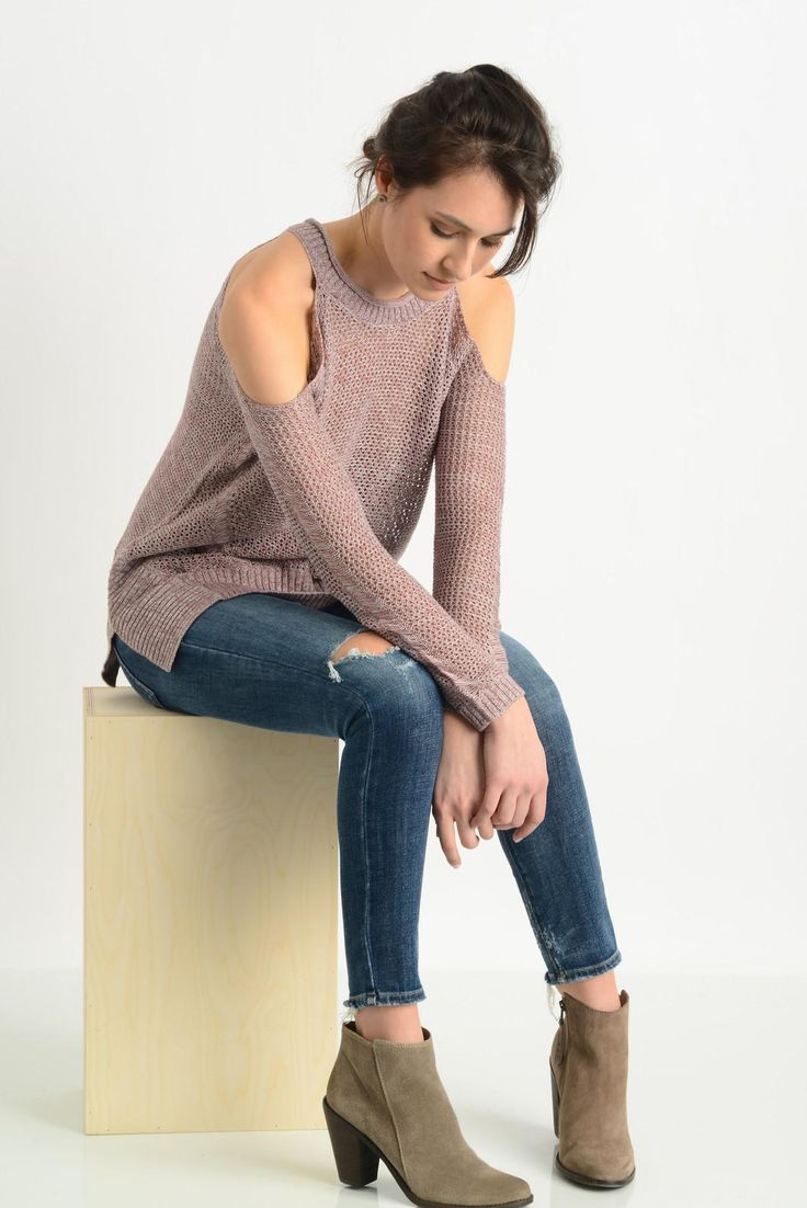 Willow & Clay Open Stitch Cold Shoulder Sweater | South Moon Under