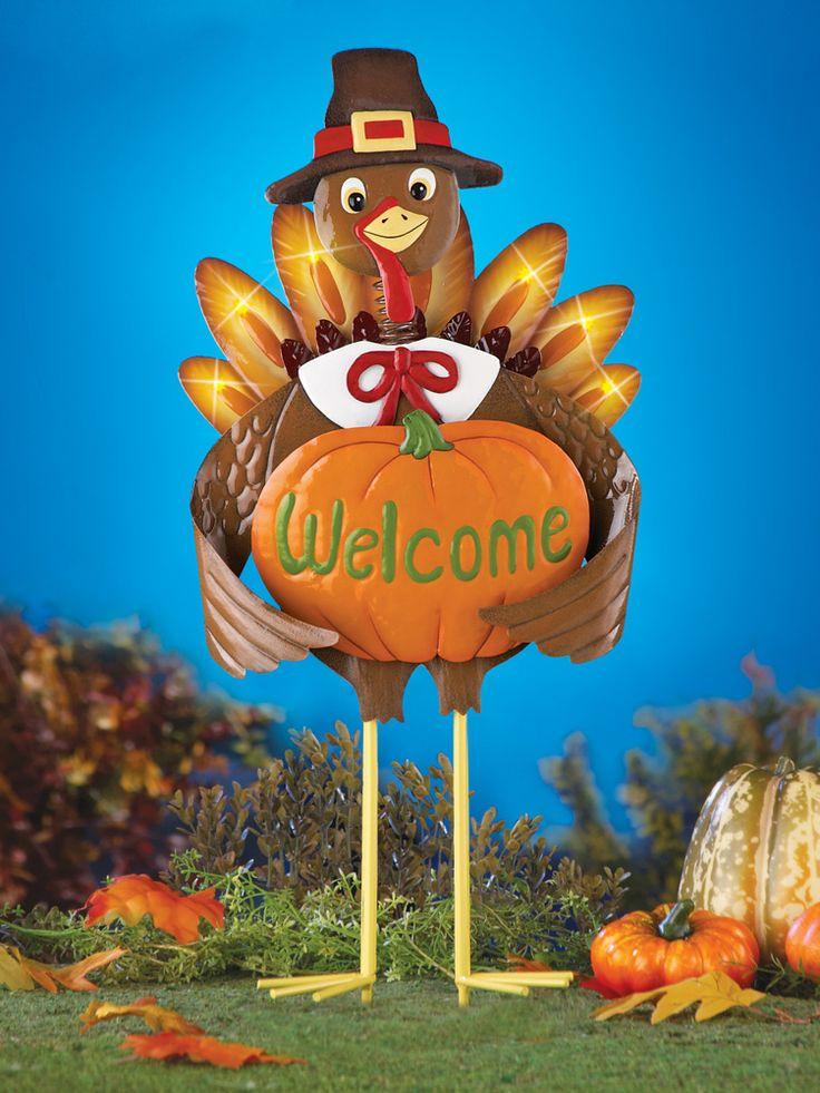 Thanksgiving Pilgrim Turkey Outdoor Garden Stake Thanksgiving