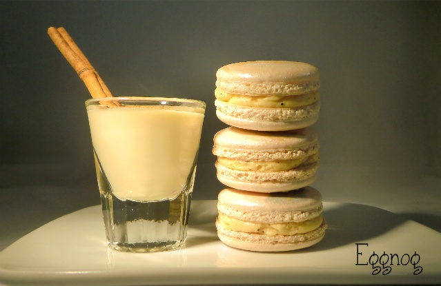 Eggnog Macarons - with Evan Williams Original Southern Eggnog flavored Buttercream