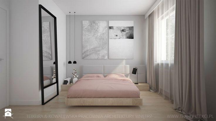 MIESZKANIE Z AKCENTAMI PUDROWEGO RÓŻU - Mała sypialnia małżeńska, styl nowoczesny - zdjęcie od TK Architekci