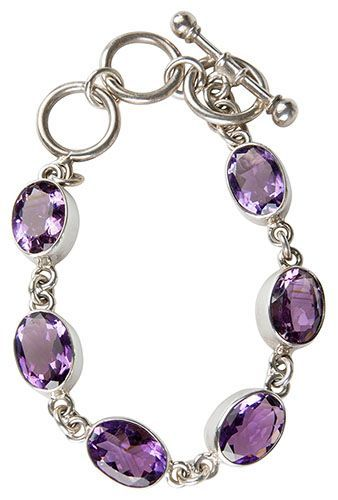 Silver Six Amethyst Bracelet Purple Gemstones, Silver Setting