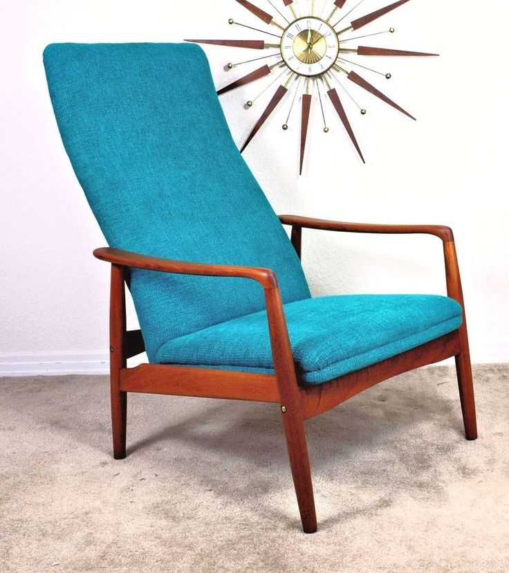 Vintage Danish Mid Century Retro Teak Recliner Lounge Arm