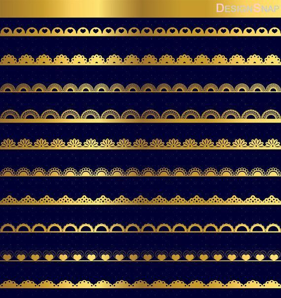 Gold Lace Borders, Digital Lace Borders, Digital Borders, Digital Dividers, Clip Art Borders, Clip Art Dividers, Decorative Borders  - 1 Zip folder