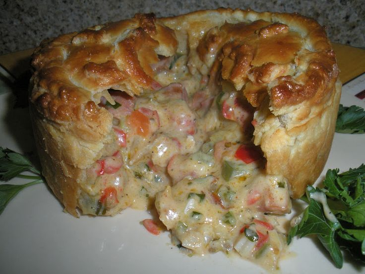 Crawfish and Andouille Sausage Pie _ A yummy old fashioned Louisiana bayou entree!