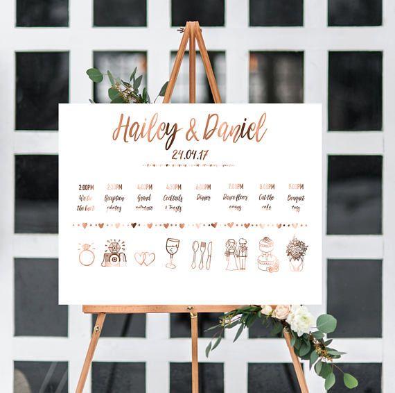 Wedding timeline // order of events // weddings // copper // custom wedding // timeline print // wedding decor // bride and groom // print