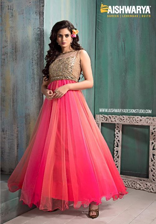 Impress yourself and the world in this gorgeous anarkali suit outfit by ‪#‎aishwaryadesignstudio‬... Find anarkali suit outfit: http://aishwaryadesignstudio.com/shaded-pink-peach-color-anarkali-suit