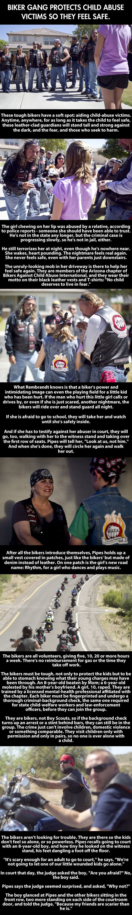 Biker gang protects child abuse victims. No sure where to put this, but too amazing not to re pin