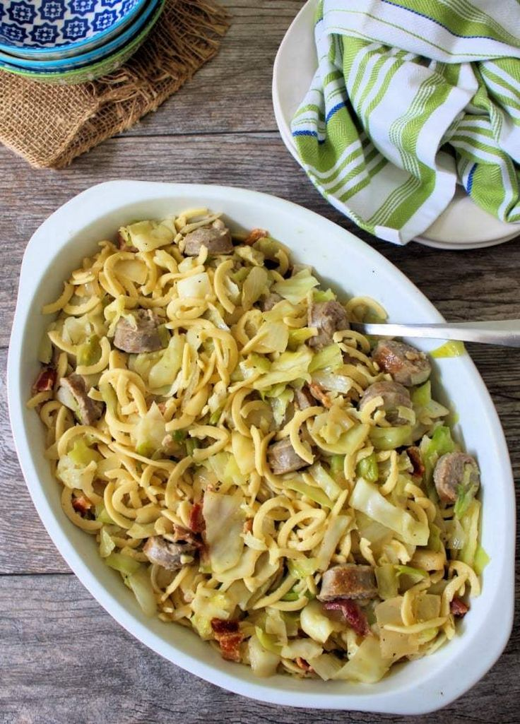 Cabbage Sausage and Kluski