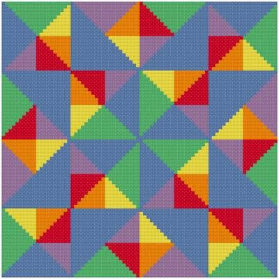 Many Facets - Quilts cross stitch pattern designed by Susan Saltzgiver. Category: Arts.