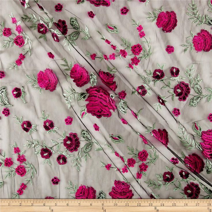 This lovely mesh fabric features an embroidered, floral face and 10% four-way stretch. The embroidery features a slight sheen and is perfect for overlays on special occasion garments, appliques, table top, decorations and more. Colors include black, pink and green.