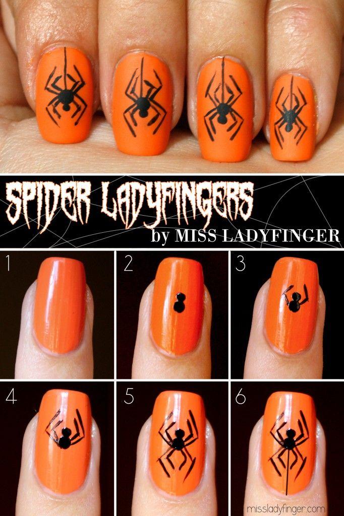 Spider Ladyfingers, Halloween Nail Art