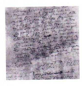 """Extrait d'acte de baptême de Françoise d'Aubigné. -  Françoise est baptisée à Notre-Dame de Niort, par le curé François Meaulne, le 28 novembre 1635. Voici, extrait du registre des baptêmes de N.D de Niort pour les années 1633-37, l'acte la concernant: """"Le vingthuitiesme jour de novembre mil sept cent trente cinque fut baptizée Françoise, fille de Messire Constant d'Aubigny, seigneur d'Aubigny et de Surimeau et de dame Jeanne de Cardillac, cojoinctz: ..."""