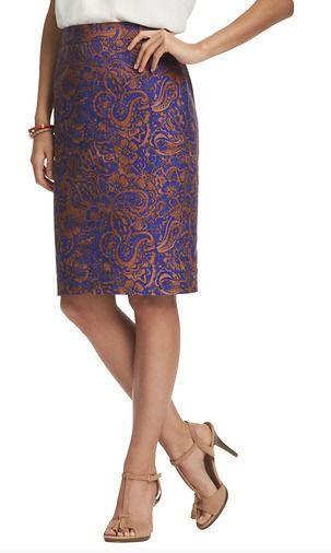 #LOFT Batik Bouquet Print Basketweave Cotton Pencil Skirt #EastwoodPinPals