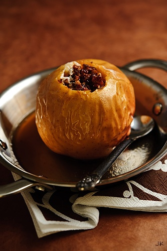 Baked Apple with Dates, Pecans and Lemon Juice