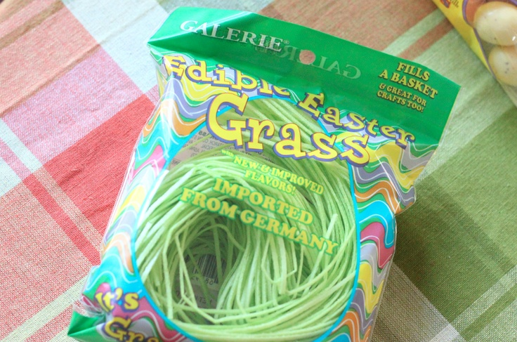 edible easter grass - kind of a neat idea, I don't know about anyone else but I HATE the grass we put ib our kids easter baskets, such a pain to clean. Lol