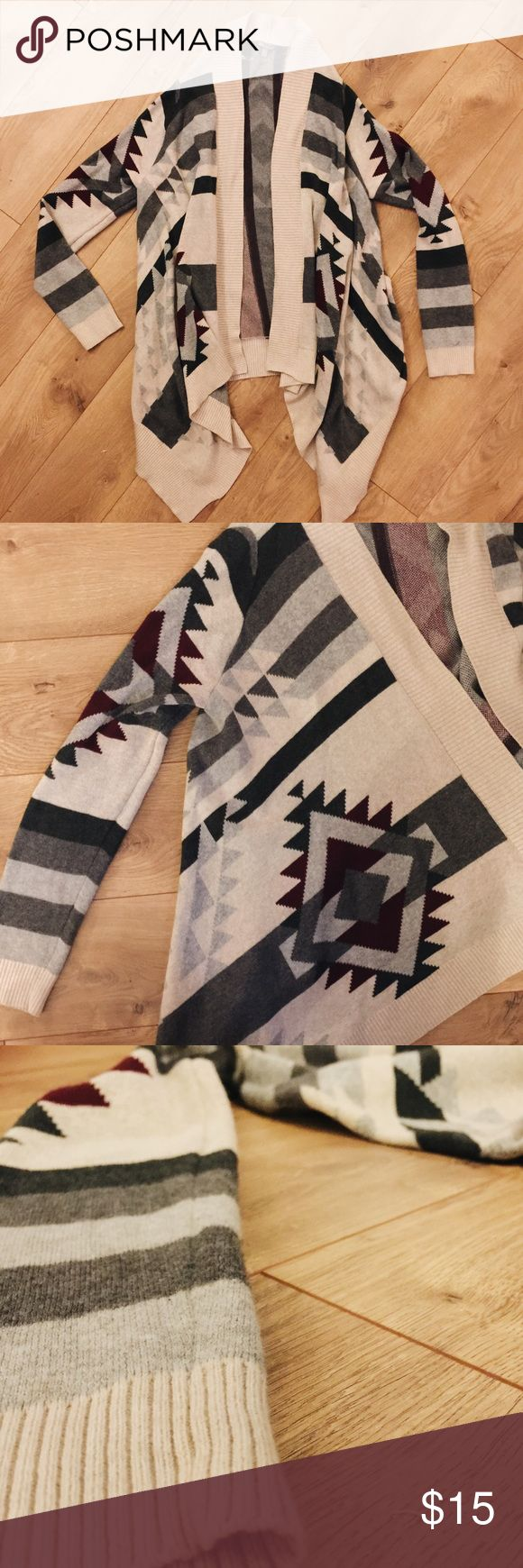 Tribal print cardigan Tan with burgundy and gray tribal print. Longer in the front for a flowy look. Worn ONCE. Charlotte Russe Sweaters Cardigans