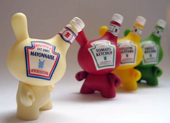 Art toys for the mustard, ketchup... signed by Kidrobot