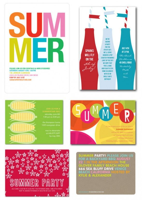 Birthday Invitations : Summer Party Invitations with Colorful Lettering Quote and Colorful Frame with Rectangular Shape - Pool Party Birthday Invitations Cards