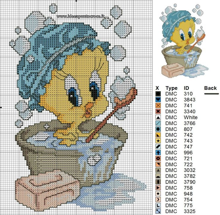 47 best images about schemi looney tunes on pinterest for Punto croce bagnetto