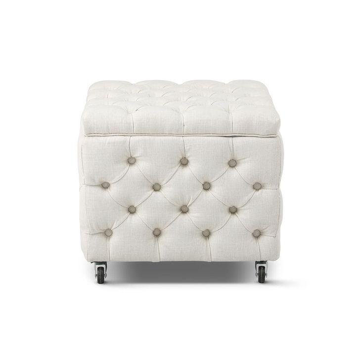 Square Storage Ottoman White