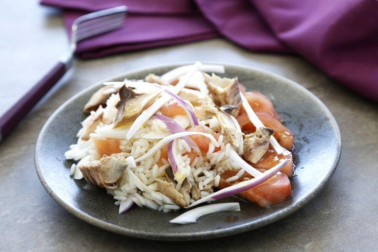 Ensalada de arroz de lima y albahaca con caballa y tomate - Brillante, te lo pone fácil. Receta de Lima y Albahaca con Pescado, para Acompañamiento, Ensalada