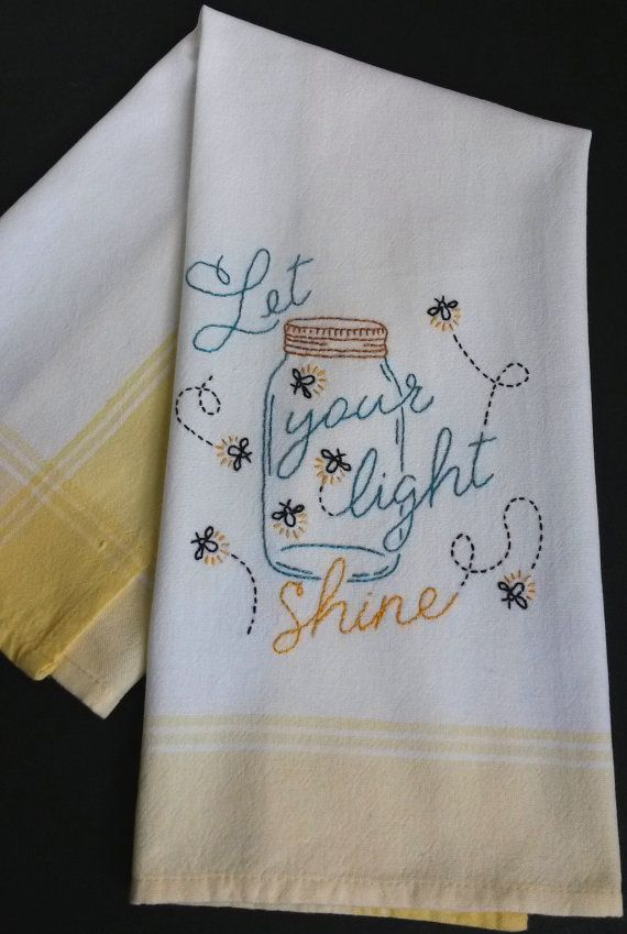 This mason jar tea towel is hand embroidered by me. This towel would cheer up any kitchen , especially your country kitchen . Yellow stripe towel. Embroidery colors are : Teal, Yellow, Black , Gold  -Let your light shine-  This dishtowel is 100% cotton and has been washed before and after embroidery  Dimensions: L 26 ½ x W 20 I do have other just as cute embroidered items if you would like to take a peek: MISCELLANEOUS EMBROIDERY…