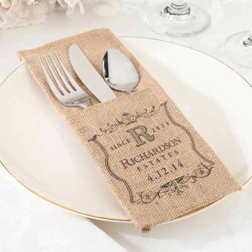 Personalized Burlap Silverware Holders by Beau-coup
